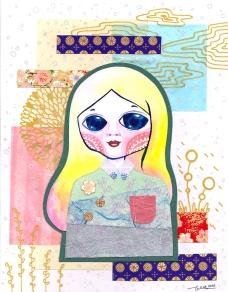Watercolor, washi paper, glitter gel pen and metallic gel pen on paper. 16.5 x 21 cm