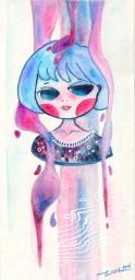 Watercolor, white gel pen and glitter gel pen on paper. 11 x 21 cm