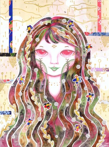 Watercolor, pencil color, washi paper, white gel pen and metallic gel pen on paper. 21 x 28.5 cm