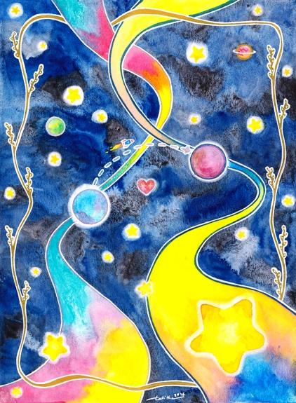 *NOT FOR SALE* Watercolor, glitter gel pen, white gel pen and metallic gel pen on paper. 21 x 28.5 cm