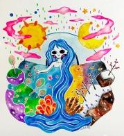 T I M E Watercolor on paper.